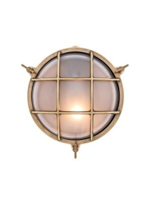 solid brass bulk head light in aged brass finish