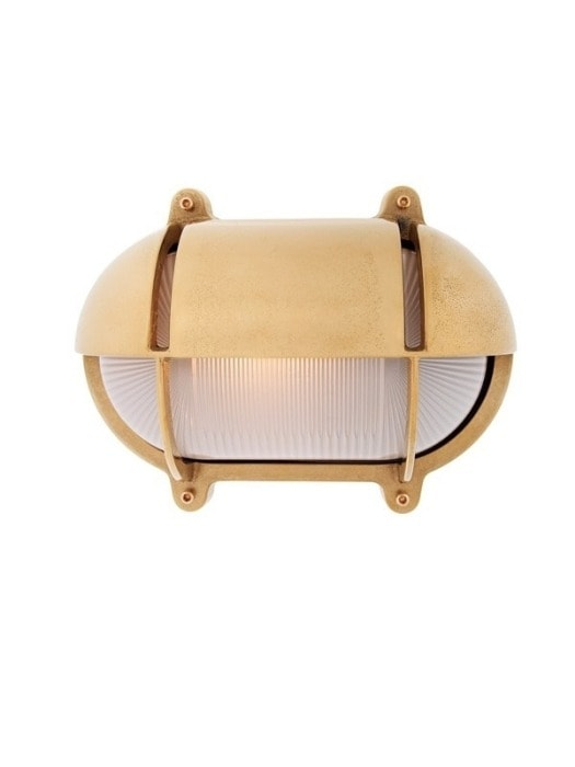 aged brass bunker light with eyelid