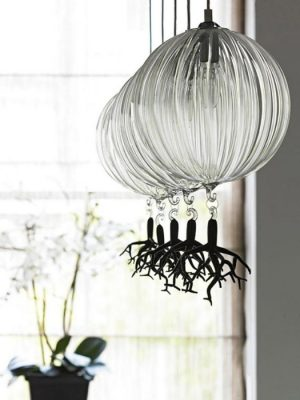 Poseidon murano glass suspension with black coral detail - gineico lighting
