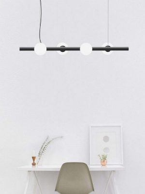 Tin Tin black suspension pendant with glass round diffuser - gineico lighting - marchetti