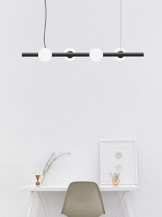 Tin Tin black suspension pendant with glass round diffuser - gineico lighting - marchetti