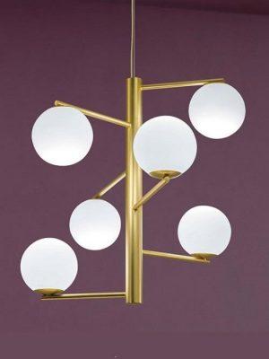 Tin Tin gold suspension pendant with glass round diffuser - gineico lighting - marchetti
